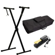 Kit Para Teclado Com Estante Suporte Q1x + Capa Ka10 + Pedal Sustain Tb100 Gold - Mellody