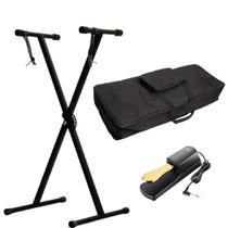Kit Para Teclado Com Estante Suporte Q1x + Capa Ka10 + Pedal Sustain Tb100 - Mellody