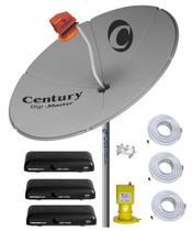 Kit Parabólica Digital 1,50 Chapa Century, Multiponto, 3 Rec Digital HD Century Mídia Box B3, Divisor, e Kits Cabo com conectores -