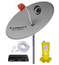 Kit Parabólica Digital 1,50 Chapa Century, Multiponto, Rec Digital HD Century Mídia Box B3, Kit Cabo com conectores -