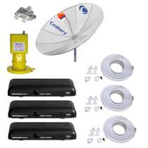 Kit Parabólica Digital 1,9 Century, Multiponto, 3 Rec Digital HD Century B3, Divisor e Kits cabo -
