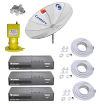Kit Parabólica Digital 1,9 Century, Multiponto, 3 Rec Digital HD Century B3, Divisor e Kits cabo