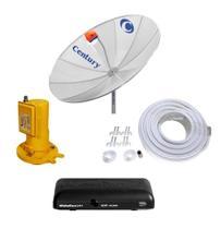 Kit Parabólica Digital Century 1,90, Multiponto, Receptor Digital HD Century Mídia Box B3 e Kit de Cabo com Conectores -