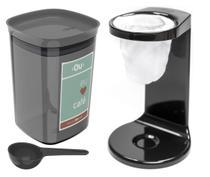 Kit Passador De Café Coador Mini Cafézinho C/ 1 Refil Pote Hermético 900ml Porta Condimento Colher Preto - Ou -
