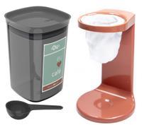 Kit Passador De Café Coador Mini Cafézinho C/ 1 Refil Pote Hermético 900ml Porta Condimento Colher Terracota - Ou -