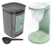 Kit Passador De Café Coador Mini Cafézinho C/ 1 Refil Pote Hermético 900ml Porta Condimento Colher Verde Menta - Ou -