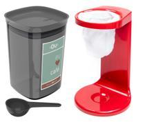 Kit Passador De Café Coador Mini Cafézinho C/ 1 Refil Pote Hermético 900ml Porta Condimento Colher Vermelho - Ou -