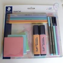 Kit Pastel c/15 peças: Canetas + Marca Texto +Lápis de Cor + Blocos Adesivos - STAEDTLER -