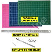 Kit Patchwork Base Corte 60x45 + Regua Aço 60cm + Estilete - Levolpe