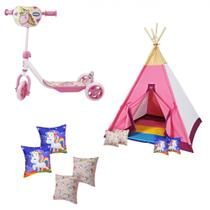 Kit Patinete Rosa + Toca Cabana Infantil Unicornio + 4 Almofadas  Papo de Pano -