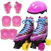 Kit Patins Clássico Quad 4 Rodas Roller + Acessórios Feminino Rosa Tam 28 Importway BW-021-R -