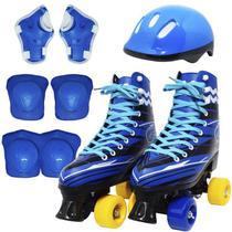 Kit Patins Clássico Quad 4 Rodas Roller + Acessórios Masculino Azul Tam 29 Importway BW-021-AZ -
