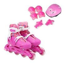 Kit Patins In Line Infantil Rosa 4 Rodas Nº 34 Ao 38 - BBR Toys