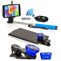 Kit Pau de Selfie Bastão Monopod com controle + Lentes Universal Azul - Outras