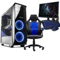 Kit - pc gamer completo neologic nli80955 intel i5-7400 8gb (geforce gtx 1050ti 4gb)1tb + cadeira gamer blue -