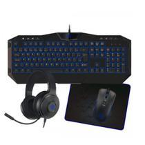 Kit PC Gamer Fone Headset para Computador Teclado Game Mouse Game MousePad 4 EM 1 Retro iluminado - Hoopson