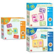 Kit Pedagógico 3 Jogos Madeira Alfabeto Números Opostos Nig -