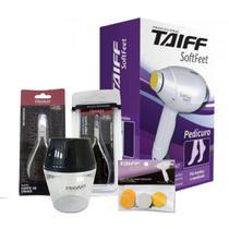 Kit pedicuro soft feet taiff 60w + alicate unha + alicate cuticula + pote misturador + refil lixa - Ga.ma