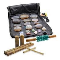 Kit Pedras Quentes Massagem Ágata 110v + Bambus + Rolo - Zhenmed