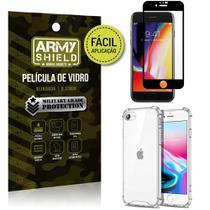 Kit Película 3D Fácil Aplicação iPhone SE 2020 Película 3D + Capa Anti Impacto - Armyshield -