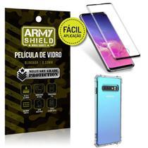 Kit Película 3D Fácil Aplicação Samsung Galaxy S10 Película 3D + Capa Anti Impacto - Armyshield -