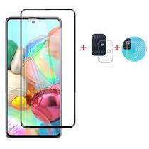 Kit Película 3D Vidro Galaxy A71 + Película Câmera + Película Traseira Fibra - Encapar