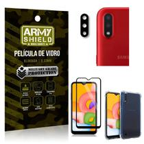 Kit Película de Câmera Galaxy A01 + Película 3D + Capa Anti Impacto - Armyshield -