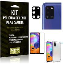 Kit Película de Câmera Galaxy A31 + Película 3D + Capa Anti Impacto - Armyshield -
