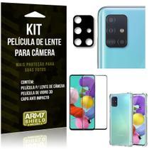 Kit Película de Câmera Galaxy A51 + Película 3D + Capa Anti Impacto - Armyshield -