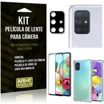 Kit Película de Câmera Galaxy A71 + Película 3D + Capa Anti Impacto - Armyshield -