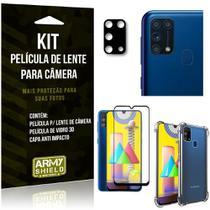 Kit Película de Câmera Galaxy M31 + Película 3D + Capa Anti Impacto - Armyshield -