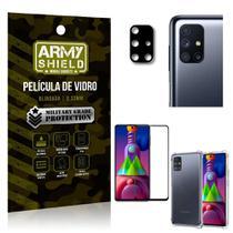 Kit Película de Câmera Galaxy M51 + Película 3D + Capa Anti Impacto - Armyshield -