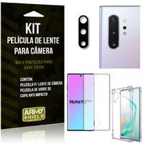 Kit Película de Câmera Galaxy Note 10 Plus + Película 3D + Capa Anti Impacto - Armyshield -
