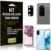 Kit Película de Câmera Galaxy S20 + Película 3D + Capa Anti Impacto - Armyshield -