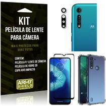 Kit Película de Câmera Moto G8 Power Lite + Película 3D + Capa Anti Impacto - Armyshield -