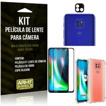 Kit Película de Câmera Moto G9 Play + Película 3D + Capa Anti Impacto - Armyshield -