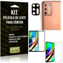 Kit Película de Câmera Moto G9 Plus + Película 3D + Capa Anti Impacto - Armyshield -