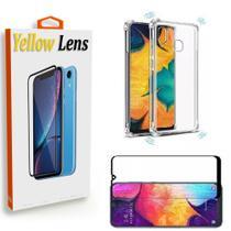 Kit Película de gel 5D Samsung Galaxy A50 + Capa Capinha Anti Impacto Transparente  - Yellow Lens -