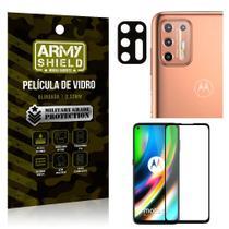 Kit Película de Lente Câmera Anti Risco + Película de Vidro 3D Moto G9 Plus - Armyshield -