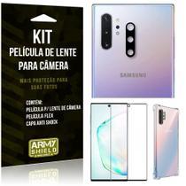 Kit Película de Lente Galaxy Note 10 Plus + Capa Anti Shock + Película Flex - Armyshield -