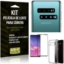 Kit Película de Lente Galaxy S10 Plus + Capa Anti Shock + Película Flex - Armyshield -