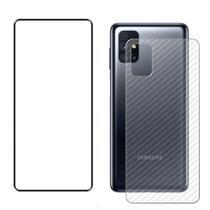 Kit Película de Vidro Frontal + Película Traseira Fibra Carbono Samsung Galaxy M51 - Encapar
