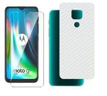 Kit Película Gel Frontal + Película Fibra de Carbono Traseira Motorola Moto G9 Play - Dv