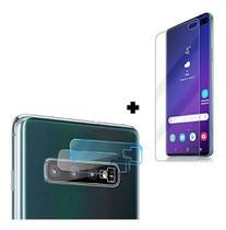Kit Película Gel Tela Galaxy S10 Plus + Película de Lente Câmera Gel Com Recorte do Flash - Sky Dreams Eletronics
