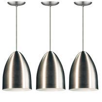 Kit pendente cone de aluminio escovado com soquete - As Luminarias