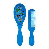 Kit pente e escova lolly azul -