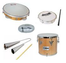 Kit percussão repique 236a phx + pandeiro contemporânea + tamborim + ganza + agogo - Ask