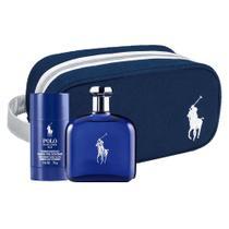 Kit Perfume Ralph Lauren Polo Blue Masculino EDT 125ml + Desodorante Stick 75g + Necessaire -