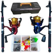 Kit Pesca 2 Varas 20lbs 2 Molinete Com Maleta + Acessórios - Jau Pesca