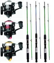 Kit Pesca 3 Molinete Albatroz WP 1000 om Linha + 3 Vara 1,35 M 12 - 25 Libras 2 Partes Fibra Maciça - Boss Pesca